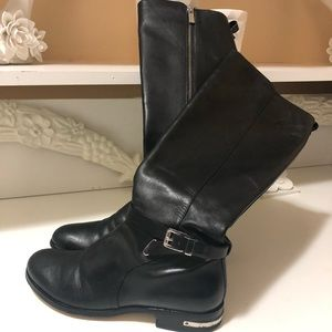 Micheal Kors leather boots with sliver hardware